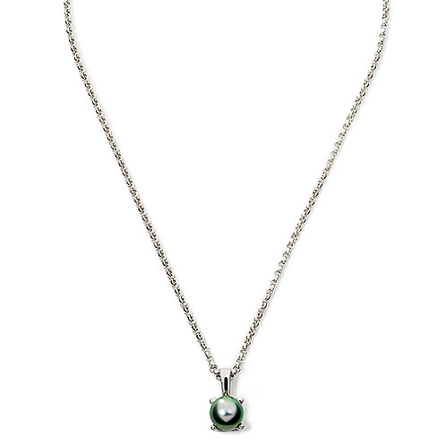 TAHIZEA Rhodium Plated Sterling Silver MOEMOE Tahitian Pearl Pendant and Chain