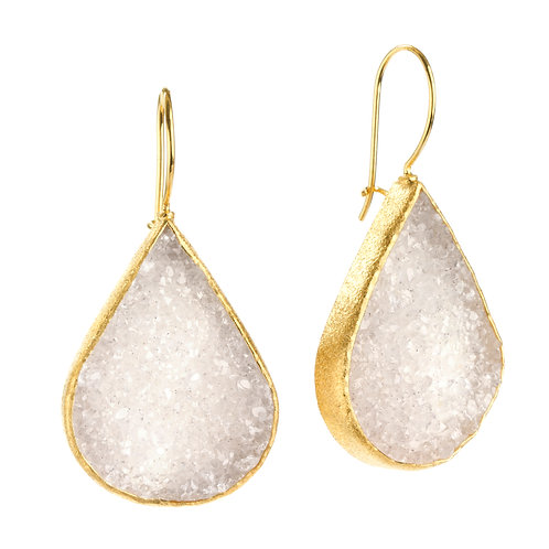 NINA NGUYEN 22K Gold Vermeil MARIPOSA Large White Druzy Dangle Earrings