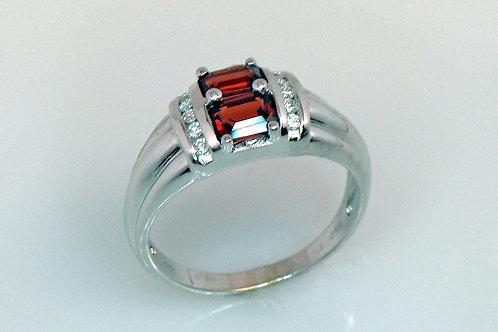 ESTATE Rhodolite Garnet and Diamond Ring in White 18K Gold