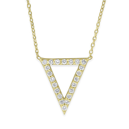 KC DESIGN Open Triangle Diamond Pendant and Chain in Yellow 14K Gold