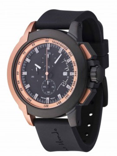 RITMO MUNDO Quantum II 50mm Stainless Watch with Black/Rose Carbon Fiber Dial
