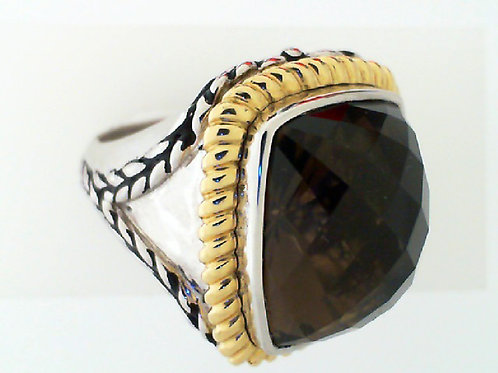 HERA Yellow 18K Gold and Sterling Silver LIDO Ring with Smokey Quartz