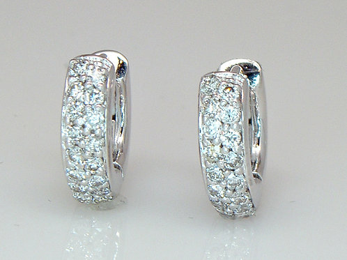 ESTATE Diamond Micro-pave Huggie Hoop Earrings