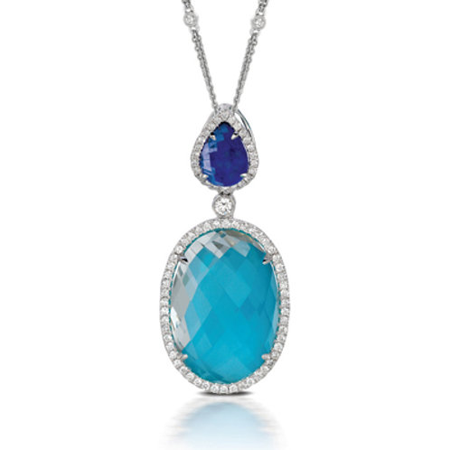 DOVES St. Barth's Blue & Diamond Slide Pendant