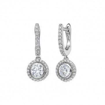 LAFONN Sterling Silver & 1.30tw Simulated Diamond Huggie Halo Drop Earrings