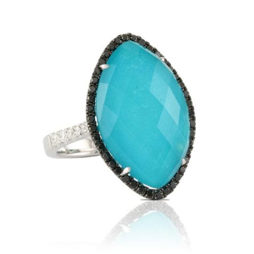 DOVES St. Barth's Blue & Black Diamond Fashion Ring in White 18K Gold