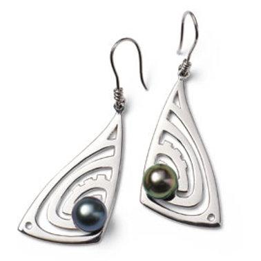 TAHIZEA Tahitian Pearl and Rhodium Plated Sterling Silver MARUMARU Earrings