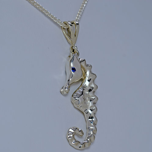 Sterling Silver Seahorse Pendant with Gemstone Eyes