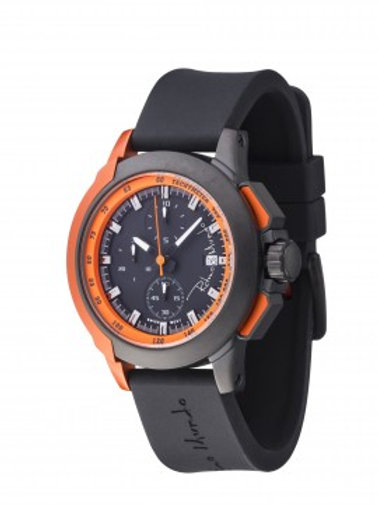 RITMO MUNDO Quantum II 43mm Stainless Watch with Black/Orange Carbon Fiber Dial