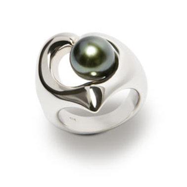 TAHIZEA Rhodium Plated Sterling Silver TAIROTO Tahitian Pearl Ring