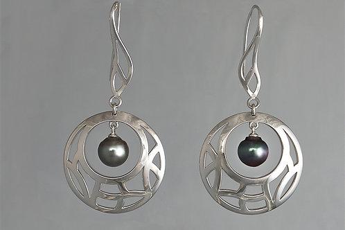 TAHIZEA Tahitian Pearl and Rhodium Plated Sterling Silver VAIRAA MELI Earrings