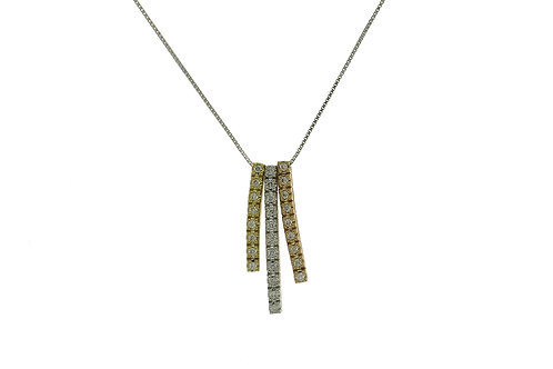 FACET BARCELONA Tri-Tone 3 Bar Diamond Pendant