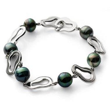 TAHIZEA Tahitian Pearl TUAMOTU Rhodium Plated Sterling Silver Link Bracelet