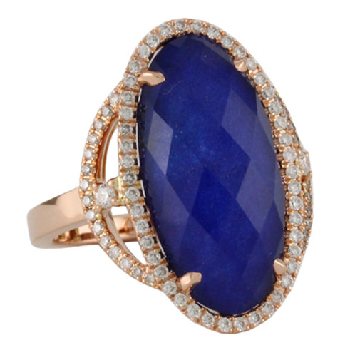 DOVES Royal Lapis Diamond Ring in Rosé 18K Gold