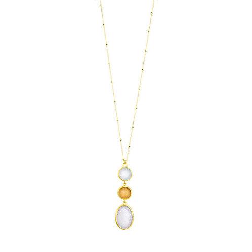 NINA NGUYEN 22K Gold Vermeil ZEN-SAMSARA White and Blush Druzy Pendant on Chain
