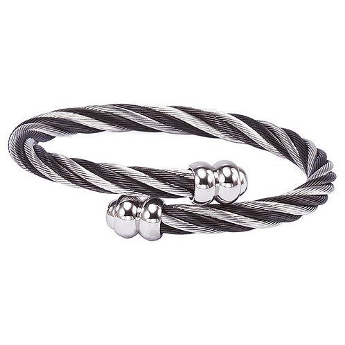 CHARRIOL Black & Monochrome Stainless Steel CELTIC 6mm Cable Bracelet