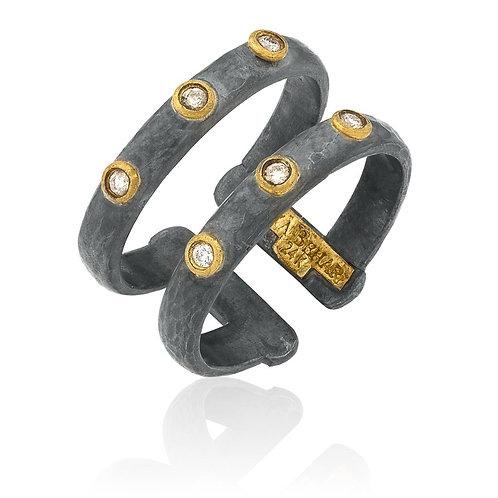 """LIKA BEHAR """"Stockholm"""" Sterling/24K/Diamond Ring ST-R-201-GOXD"""