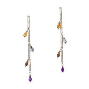 REBECCA HOOK Sterling Silver & Briolette Bamboo Stick Earrings