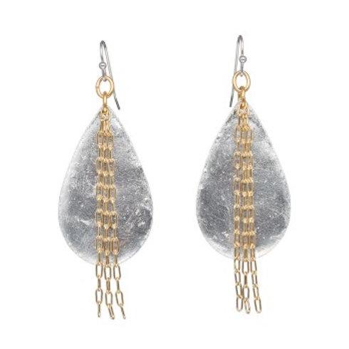 EVOCATEUR Delia in Chains Medium Teardrop Earrings - Silver