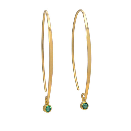 DAVID CRANDALL Yellow 14K Emerald Shooting Star Threader Earrings