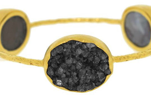 NINA NGUYEN  22K Gold Vermeil BAMBOO PALLAS Black Druzy Bangle