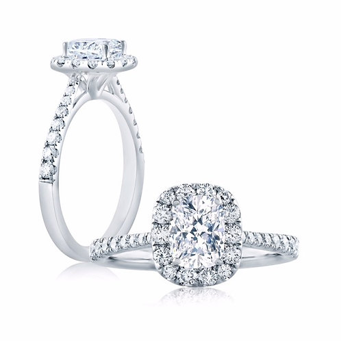 A. JAFFE 1892 0.38ct Cushion Halo Engagement Ring BE1310CU/89C