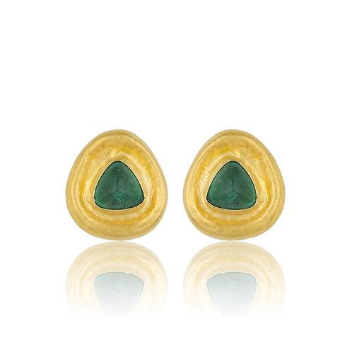 """LIKA BEHAR """"Bathsheba"""" Emerald Cabochon Button Earrings E-203-GEM"""