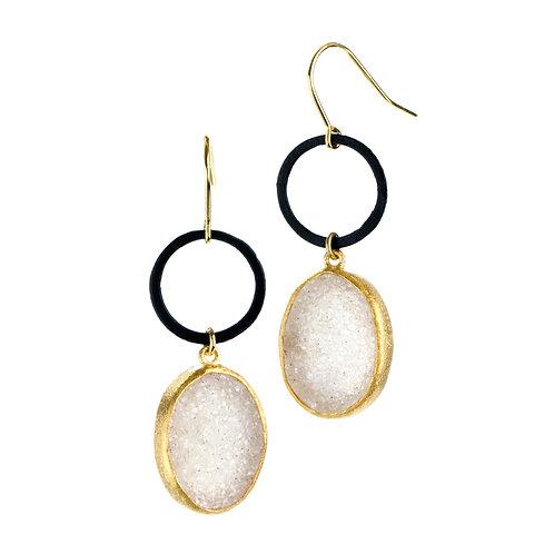 NINA NGUYEN 22K Gold Vermeil ABBEY Druzy Dangle Earrings