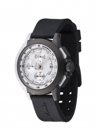 RITMO MUNDO Quantum II 43mm Stainless Watch with Black/White Carbon Fiber Dial