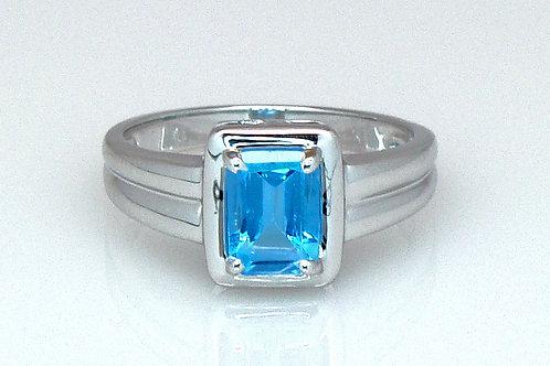 ESTATE Emerald Cut Blue Topaz Ring in White 14K Gold