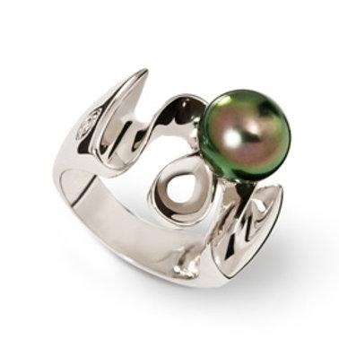 TAHIZEA Rhodium Plated Sterling Silver TAFIFI Tahitian Pearl Ring