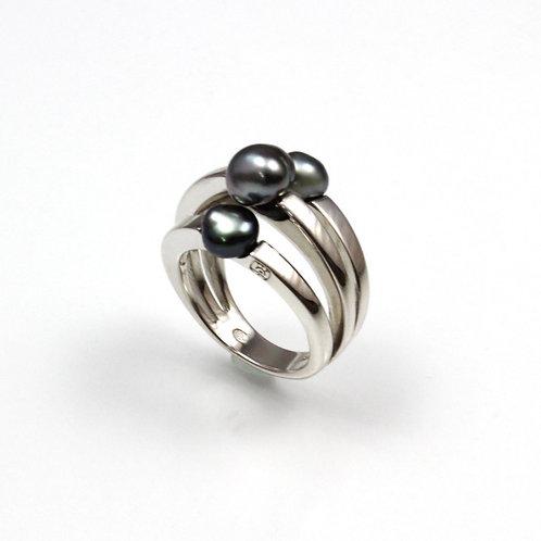 TAHIZEA Rhodium Plated Sterling Silver TAHIRI Tahitian Pearl Ring