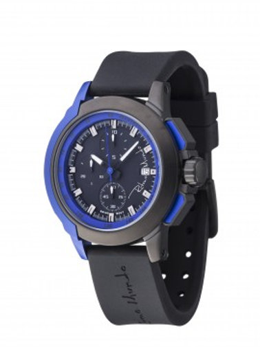 RITMO MUNDO Quantum I 50mm Stainless Watch with Black/Blue Carbon Fiber Dial