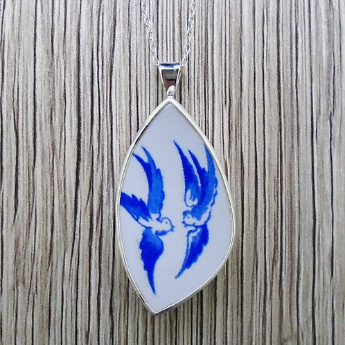 Old Willow Doves Sterling Silver Pendant