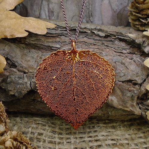 Aspen Leaf Pendant - Red Copper (Medium)