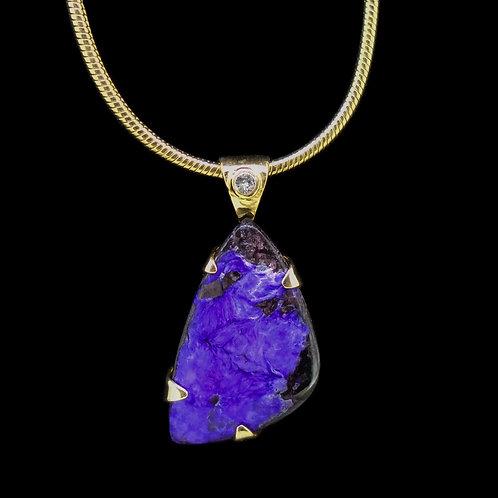 Sugilite & Diamond Solid 18ct Gold Pendant