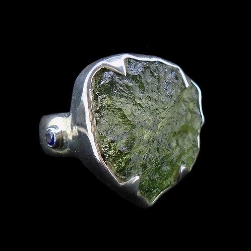 Moldavite & Blue Velvet Sapphire Sterling Silver Ring