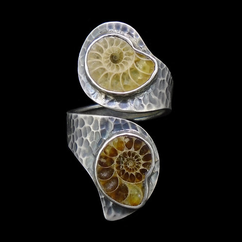 Double Ammonite Sterling Silver Ring