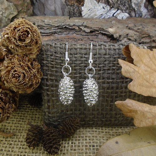 Pine Cone Earrings - Silver