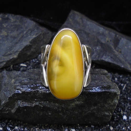 Baltic Amber Celtic Sterling Silver Ring
