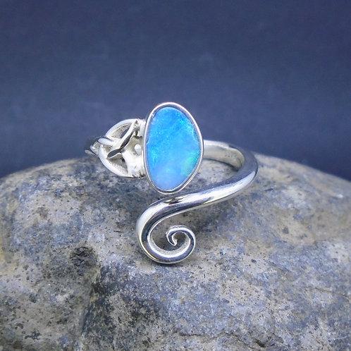 Australian Opal Doublet Sterling Silver Celtic Knot Ring