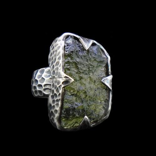 Moldavite Sterling Silver Ring