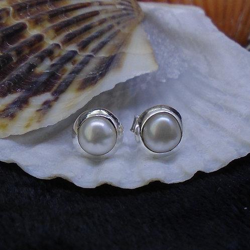 Pearl Sterling Silver Stud Earrings