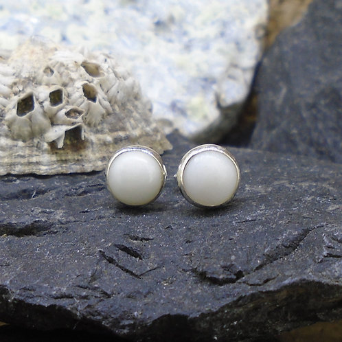 Round 6mm Iona Marble Sterling Silver Stud Earrings
