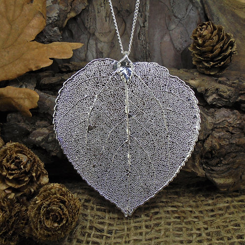 Aspen Leaf Pendant - Silver (Large)