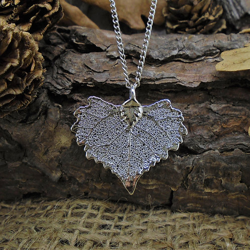 Cottonwood Leaf Pendant - Silver (Small)