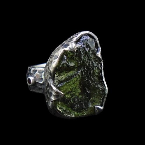 Moldavite & Garnet Sterling Silver Ring
