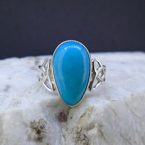 Sleeping Beauty Turquoise Sterling Silver Celtic Ring