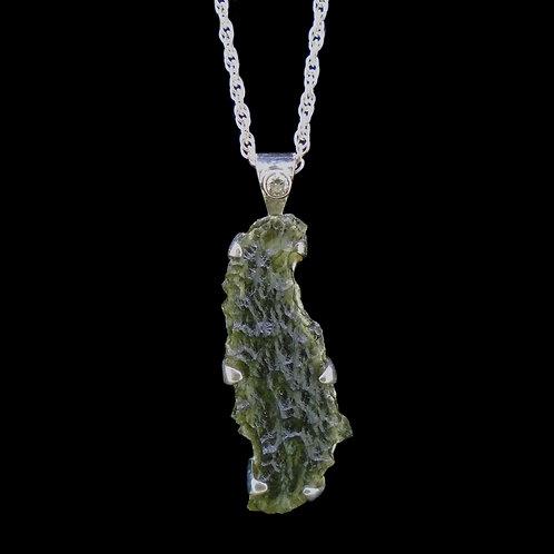 Moldavite & Diamond Sterling Silver Pendant