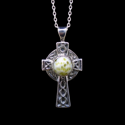 Iona Marble Celtic Cross Sterling Silver Pendant